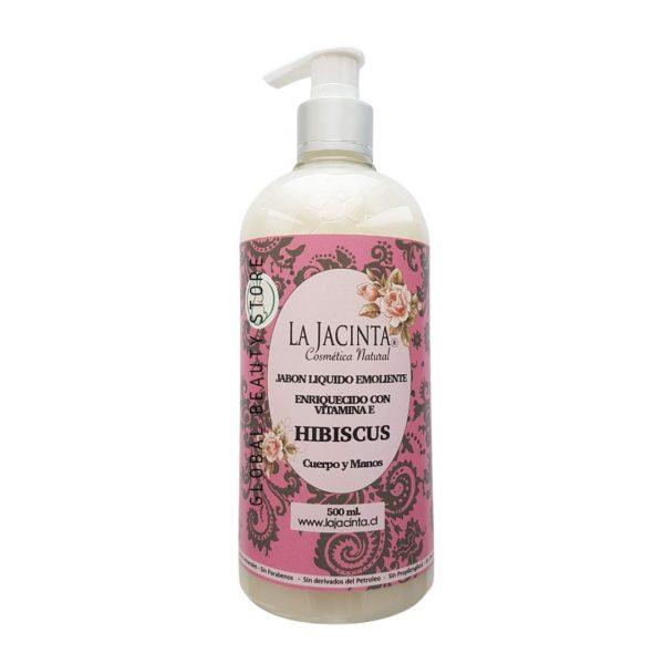 Jabón líquido Hibiscus,500ml emoliente, vitamina E 1
