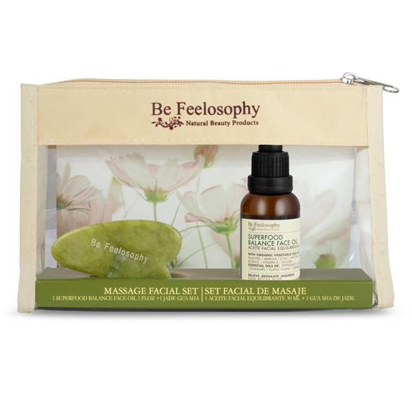 Masaje facial equilibrante, piel sensible - mixta a grasa / Aceite 30ml + Gua sha 1